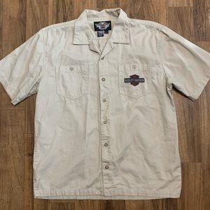 Harley Davidson Button Down Khaki Shirt L